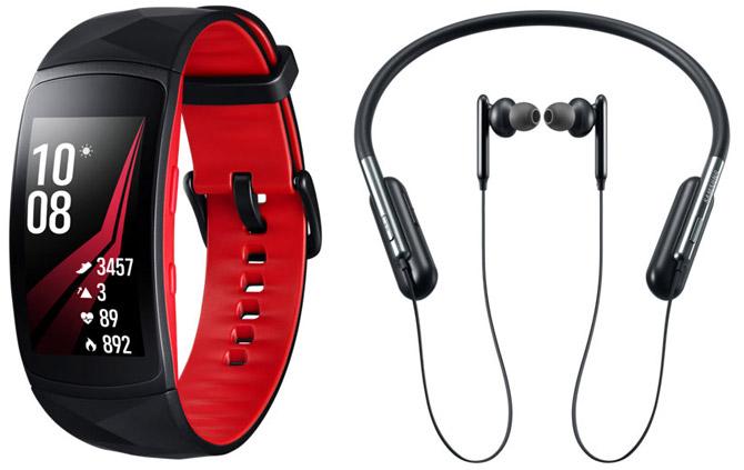 наушники u flex headphon и фитнес браслет es gear fit2 pro
