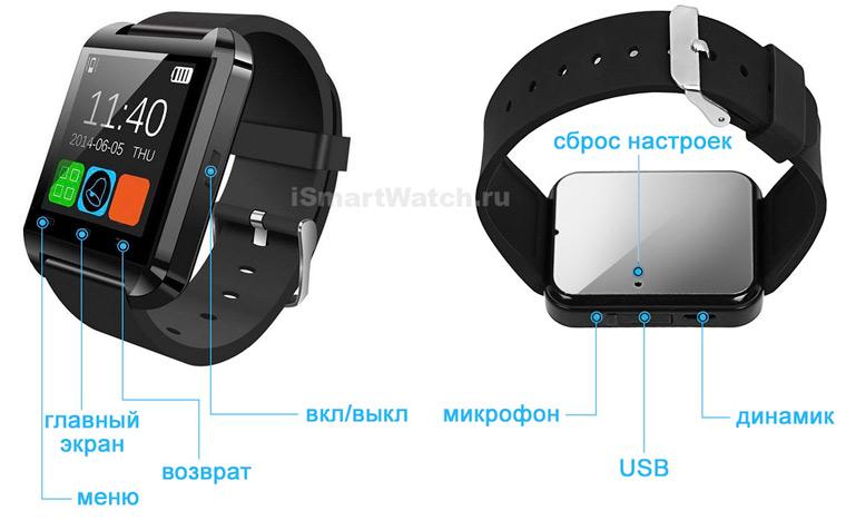 smartwatch U8 кнопки