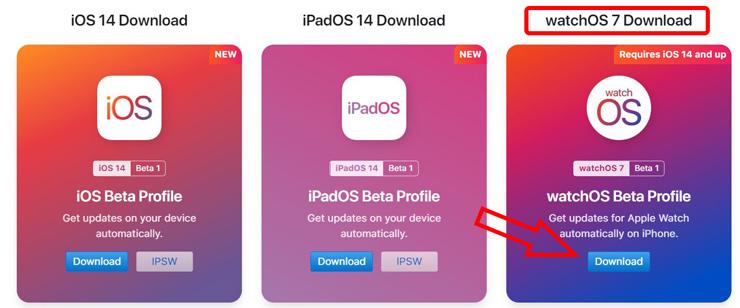 Скачать профиль watchOS 7 beta